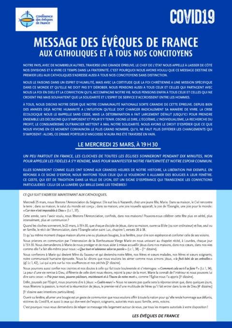 MESSAGE – conférence des Évêques de France – COVID19
