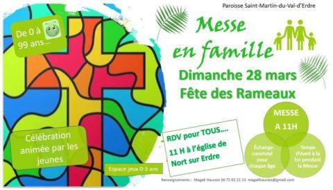 Messe en famille – Fête des Rameaux – Dimanche 28 mars 2021 – 11h à Nort-sur-Erdre