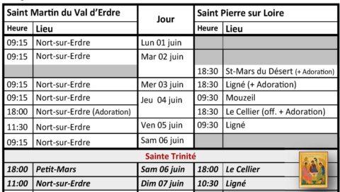Nouveaux horaires des messes à partir du 1er juin 2020