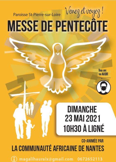Dimanche 23 mai 10h30 à Ligné avec la communauté Africaine, messe Pentecôte.